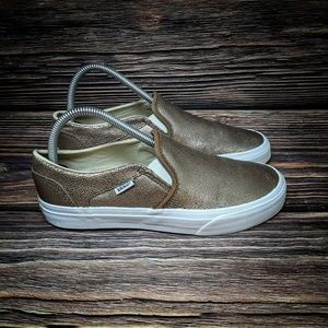 Vans Classic Slip On Women's Metallic Gold Leather